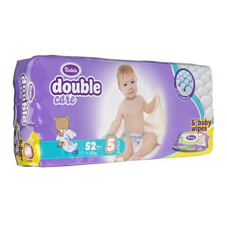 Slika za Violeta® Pelene AirCare 5 Junior (11-25kg) Jumbo 52 + Poklon Baby vlažne maramice