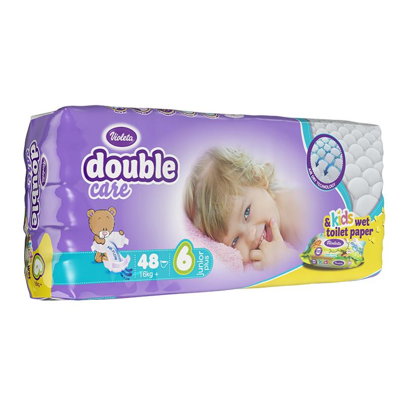 Slika za Violeta® Pelene AirCare 6 Junior Plus (16kg+) Jumbo 48 + Poklon Baby vlažne maramice