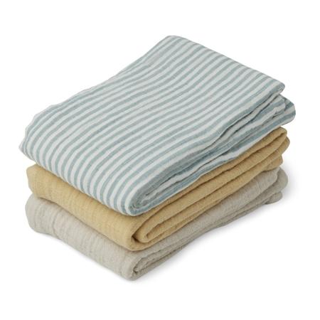 Liewood® Set 3  muslin pelene Line Sea Blue Stripe Mix 60x60