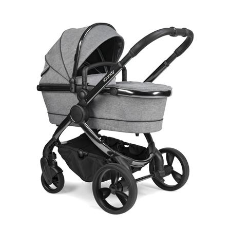 iCandy® Dječja kolica s košarom 2v1 Peach s crnim okvirom Phantom Light Grey Check Combo