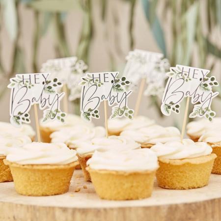 Slika za Ginger Ray® Ukrasi za kolače Hey Baby Botanical 12 komada