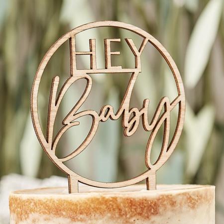 Slika za Ginger Ray® Drveni ukrasni natpis za tortu Hey Baby Botanical