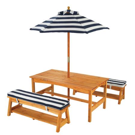Slika za KidKraft® Vanjski stol s kišebranom i klupicama  Blue/White