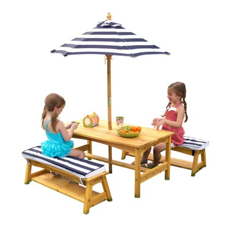 KidKraft® Vanjski stol s kišebranom i klupicama  Blue/White