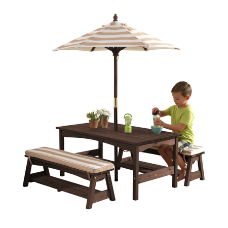 KidKraft®  Vanjski stol s kišebranom i klupicama Pink/White