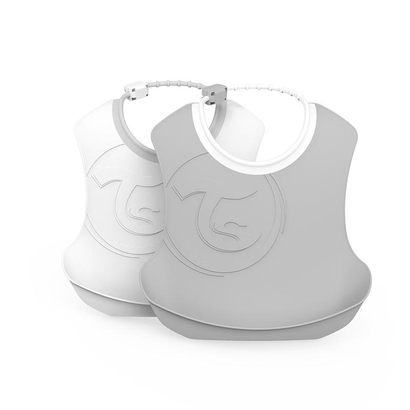 Slika za Twistshake® Dva podbradnjaka Pastel Grey & White (4+m)