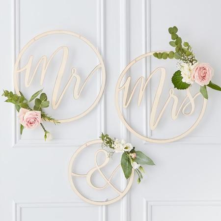 Slika za Ginger Ray® Drveni obruč  Mr & Mrs
