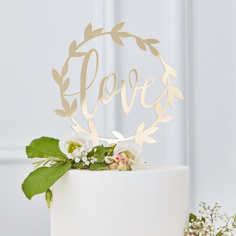 Slika za Ginger Ray® Zlatni ukras za tortu Love