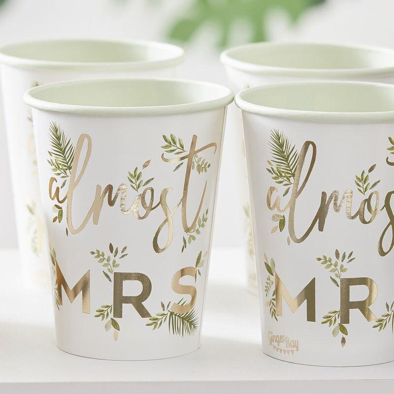 Slika za Ginger Ray® Papirne čašice Almost Mrs 8 komada
