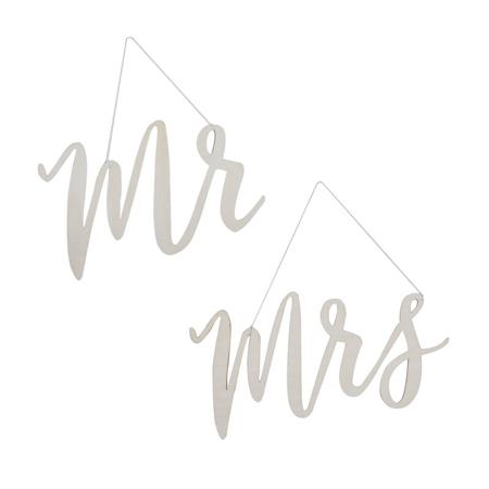 Ginger Ray® Drvena dekoracija za stolice Mr & Mrs