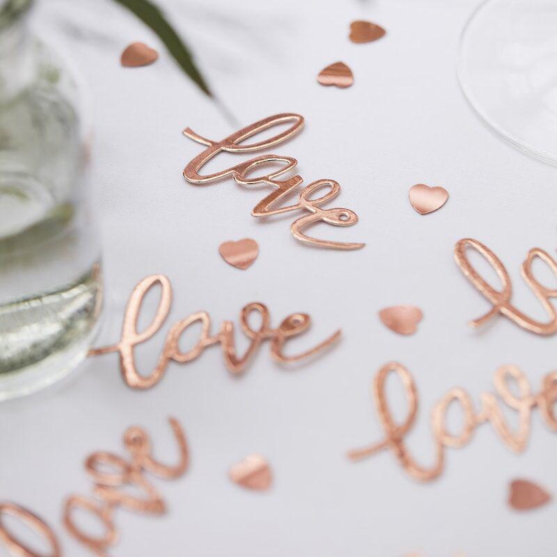 Slika za Ginger Ray® Stolni ukrasni konfeti za sto Rose Gold Love Hearts