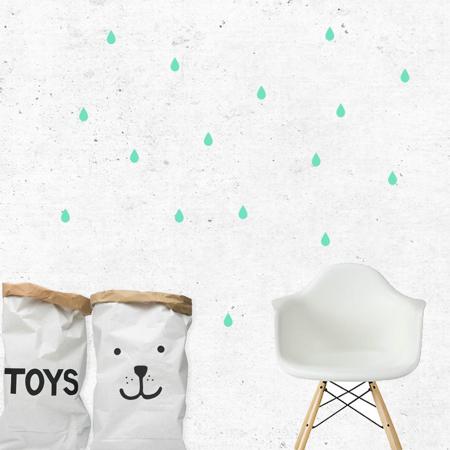 Slika za Pick Art Design® Zidne naljepnice Kapljice kiše Mint