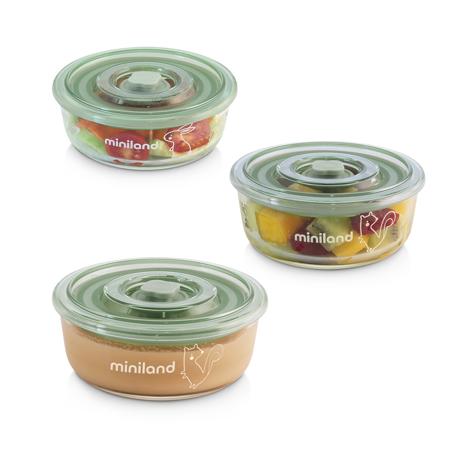 Slika za Miniland® Set 3 okrugle staklene posudice 300ml Chip