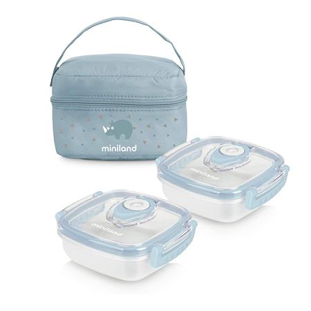Slika za Miniland® Set dvi posudice sa termo torbom 330ml Azure