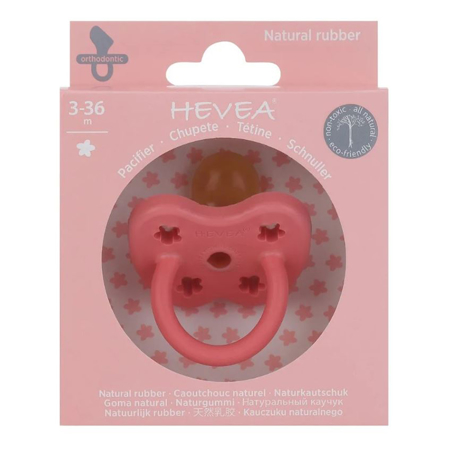 Slika za Hevea® Ortodontska duda od kaučuka Colourful (3-36m) Coral