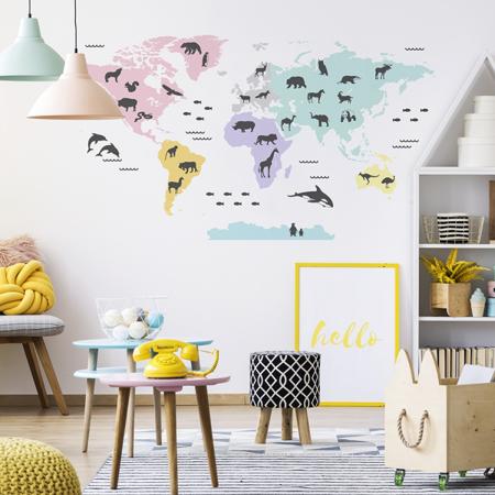 Slika za Yokodesign® Zidna naljepnica Karta svijeta Pastel 150x84