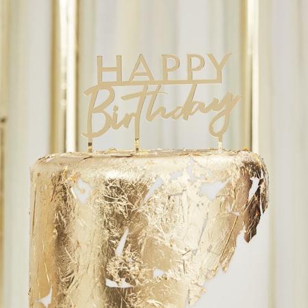 Slika za Ginger Ray® Ukras za tortu Gold Happy Birthday