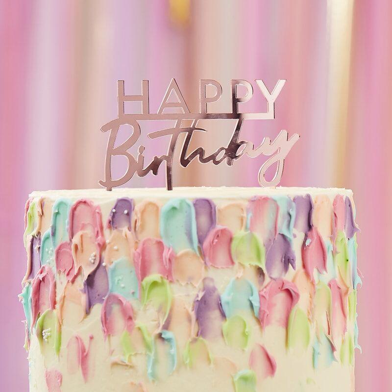 Slika za Ginger Ray® Okrasek za torto Pink Happy Birthday