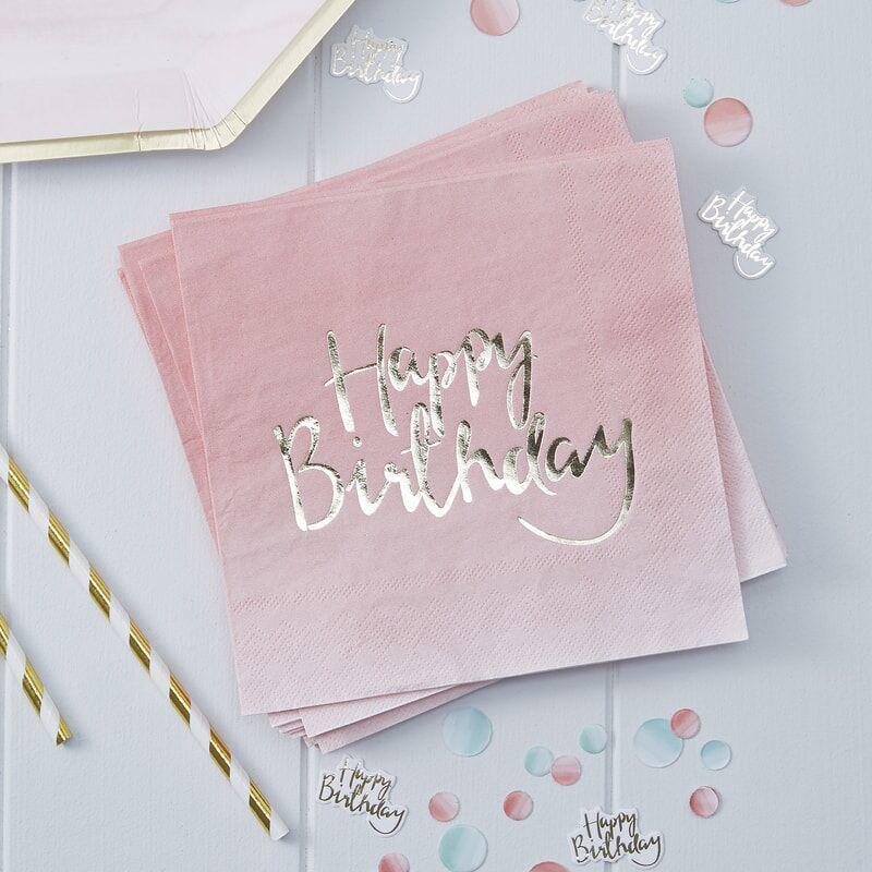 Slika za Ginger Ray® Papirne salvete Pink Ombre Happy Birthday 20 komada