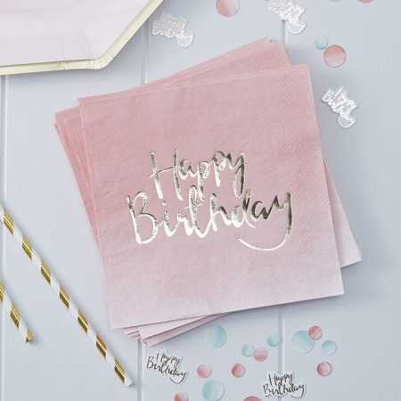 Slika za Ginger Ray® Papirne salvete Pink Ombre Happy Birthday 20 komada