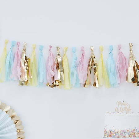 Ginger Ray® Pom Pom Girlanda Pastel & Gold