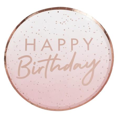 Ginger Ray® Tanjuri s folijom Rose Gold Happy Birthday 8 komada