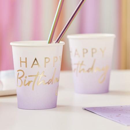 Slika za Ginger Ray® Papirne čašice  Happy Birthday Ombre Gold 8 komada