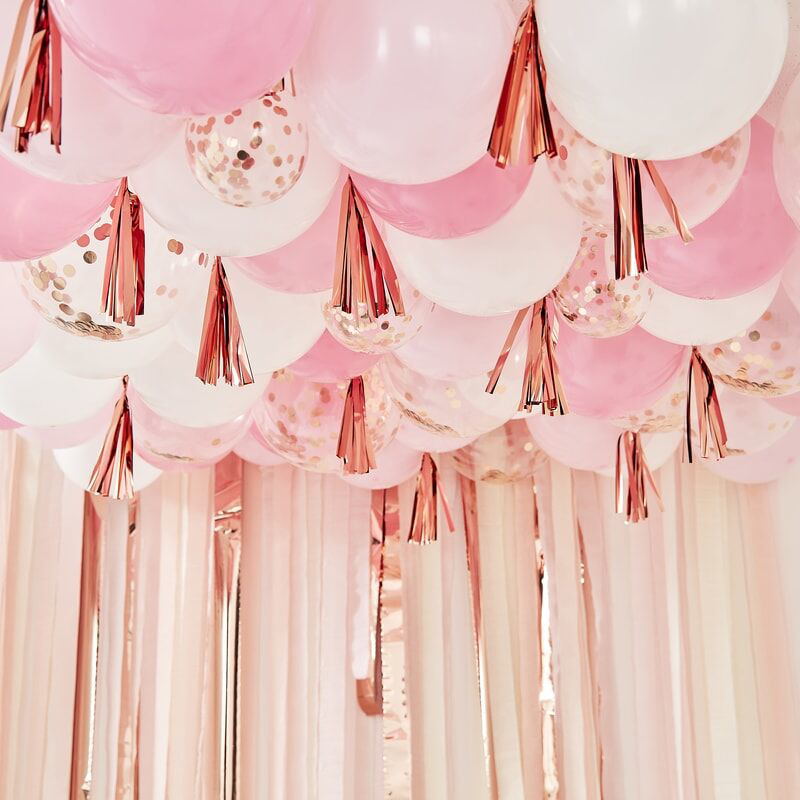 Slika za Ginger Ray® Baloni s resicama Blush White & Rose Gold
