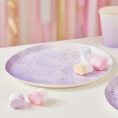 Slika za Ginger Ray® Tanjuri s foljom Gold Lilac Watercolour 8 kosov