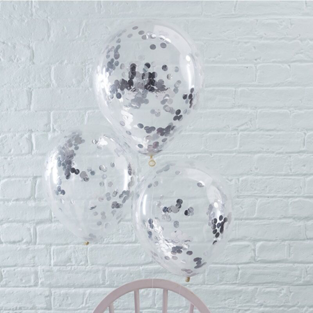 Slika za Ginger Ray® Baloni s konfetima Silver 5 komada