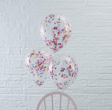 Slika za Ginger Ray® Baloni s konfetima Multicoloured 5 komada