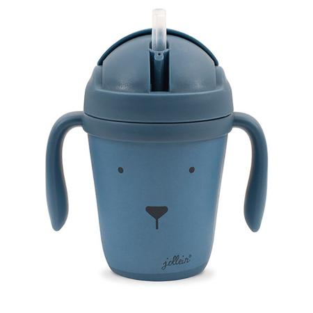 Slika za Jollein® Bočica sa slamico od bambusa Animal Club Steel Blue