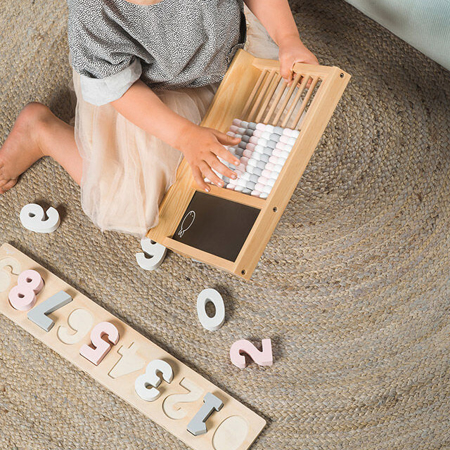 Slika za Jollein® Drvena slagalica s brojevima Pink/White