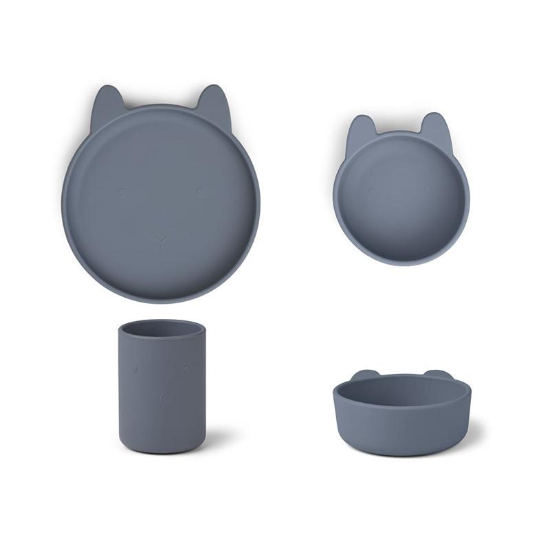 Slika za Liewood® Set za jelo od silikona Cyrus Junior Rabbit Blue Wave