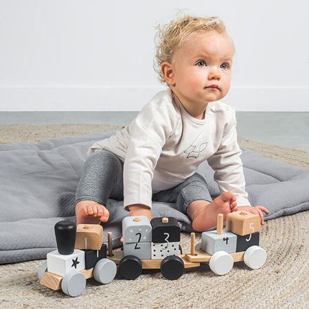 Slika za Jollein® Drvena igračka Vlakić Grey & Pink