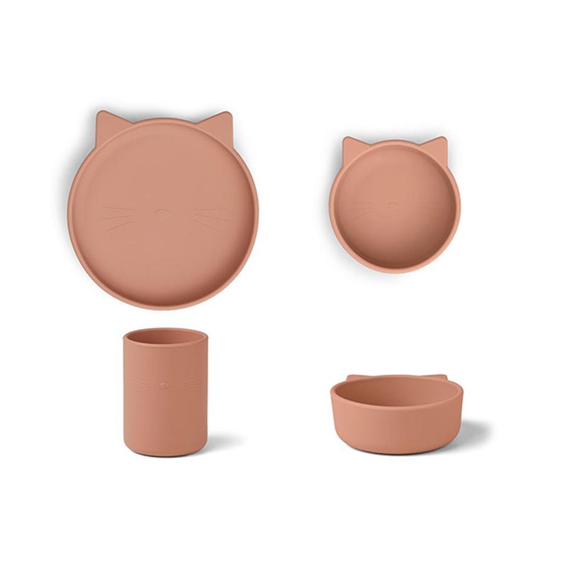 Slika za Liewood® Set za jelo od silikona Cyrus Junior Cat Dark Rose