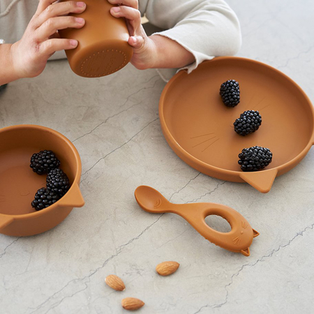 Liewood® Set za jelo od silikona  Vivi Cat Mustard