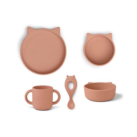 Slika za Liewood® Set za jelo od silikona Vivi Cat Dark Rose