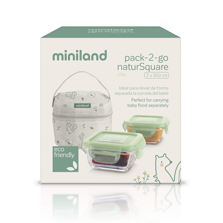 Slika za  Miniland® Set dvi termo posude s termo torbom  160ml Natur Square Chip