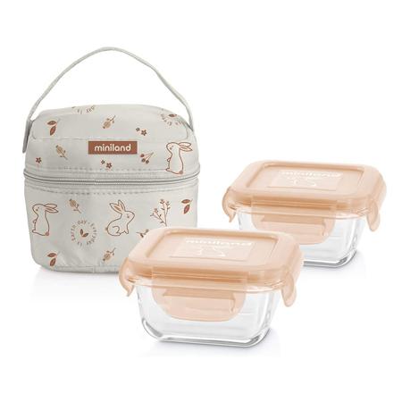 Slika za  Miniland® Set dvi termo posude s termo torbom 160ml Natur Square Bunny