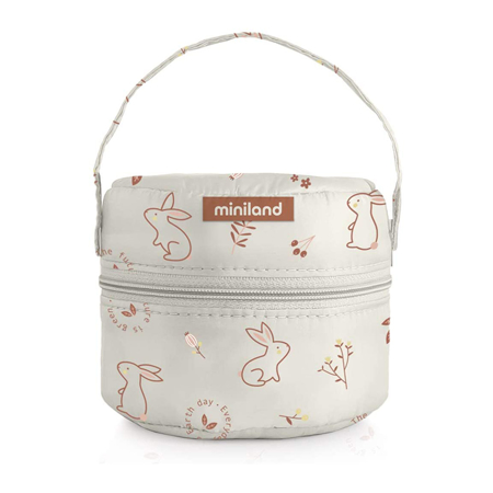 Miniland® Set dvi termo posude s termo torbom 200ml Natur Round Bunny