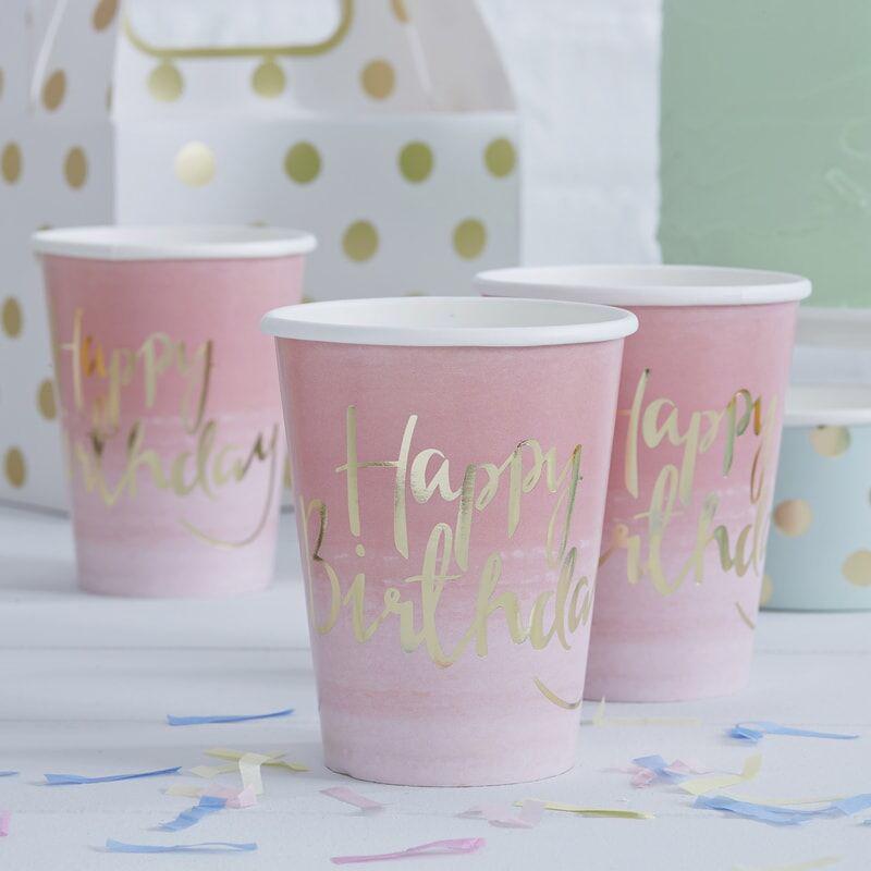 Slika za Ginger Ray® Papirnati kozarčki Happy Birthday Ombre Pink 8 kosov