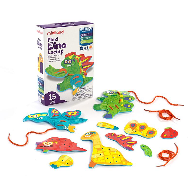 Slika za Miniland® Set za šivanje Flexi Dino Lacing