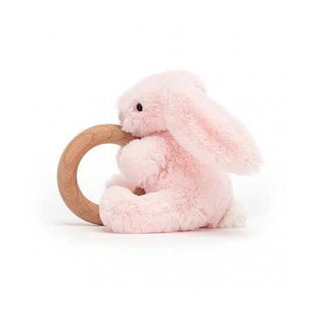 Jellycat® Plišani zec s drvenim obručem  Bashful Pink 13cm