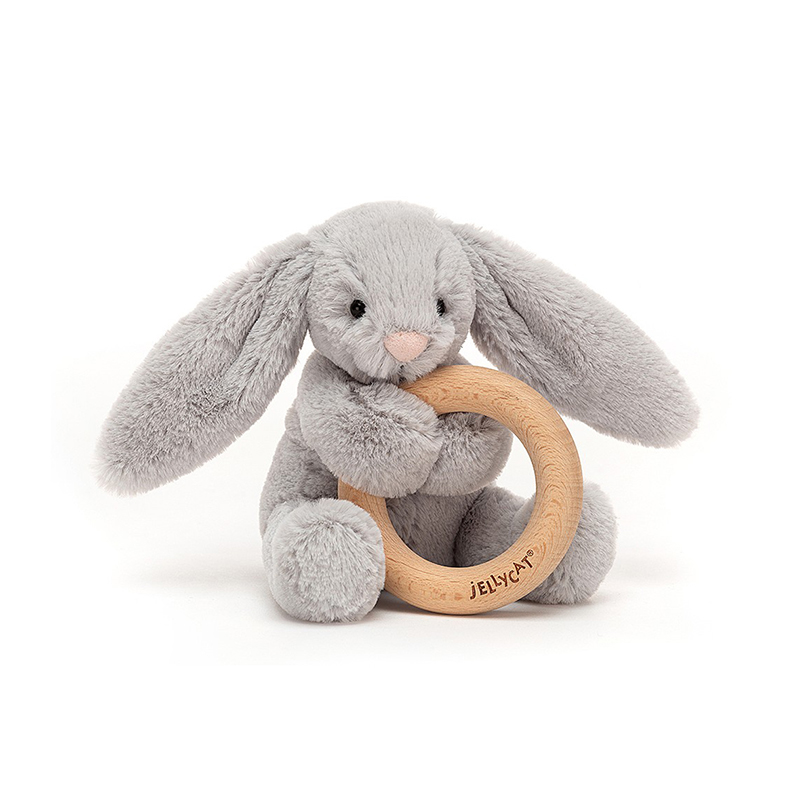 Slika za Jellycat® Plišani zec s drvenim obručem Bashful Silver 13cm