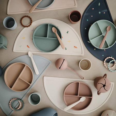 Mushie® Set dvi silikonske žlice Blush/Shifting Sand