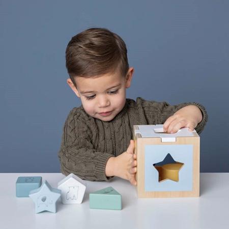 Little Dutch® Didaktična kocka za razvrstavanje oblika Zoo Blue