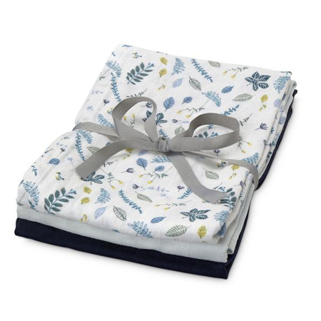 Slika za CamCam® Povijalne pleničke Mix Pressed Leaves Blue, Baby Blue, Navy 70x70 3 kosi