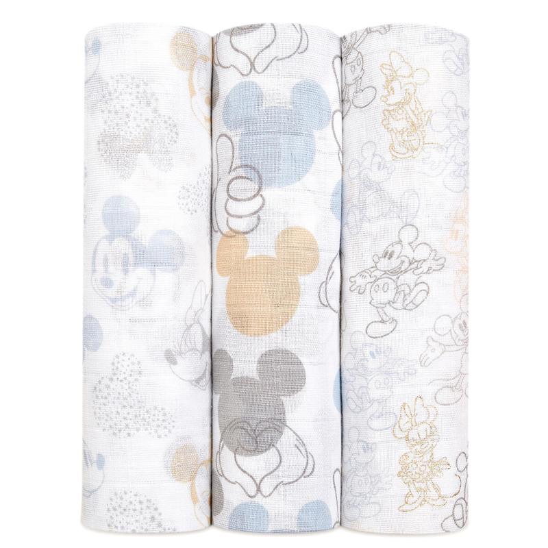 Slika za Aden+Anais® Komplet 3 povijalnih pleničk Mickey + Minnie 120x120