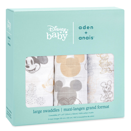 Aden+Anais® Komplet 3 povijalnih pleničk Mickey + Minnie 120x120